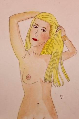 nude blonde watercolor painting