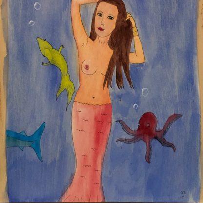 topless mermaid octopus shark