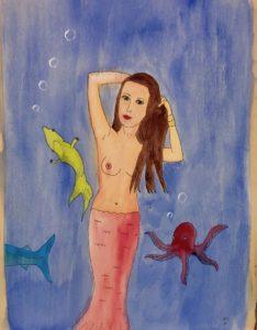 mermaid watercolor on wood
