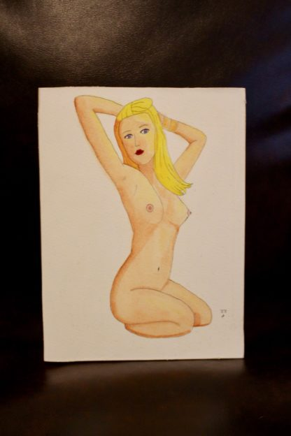 Allie as Marilyn watercolor pinup