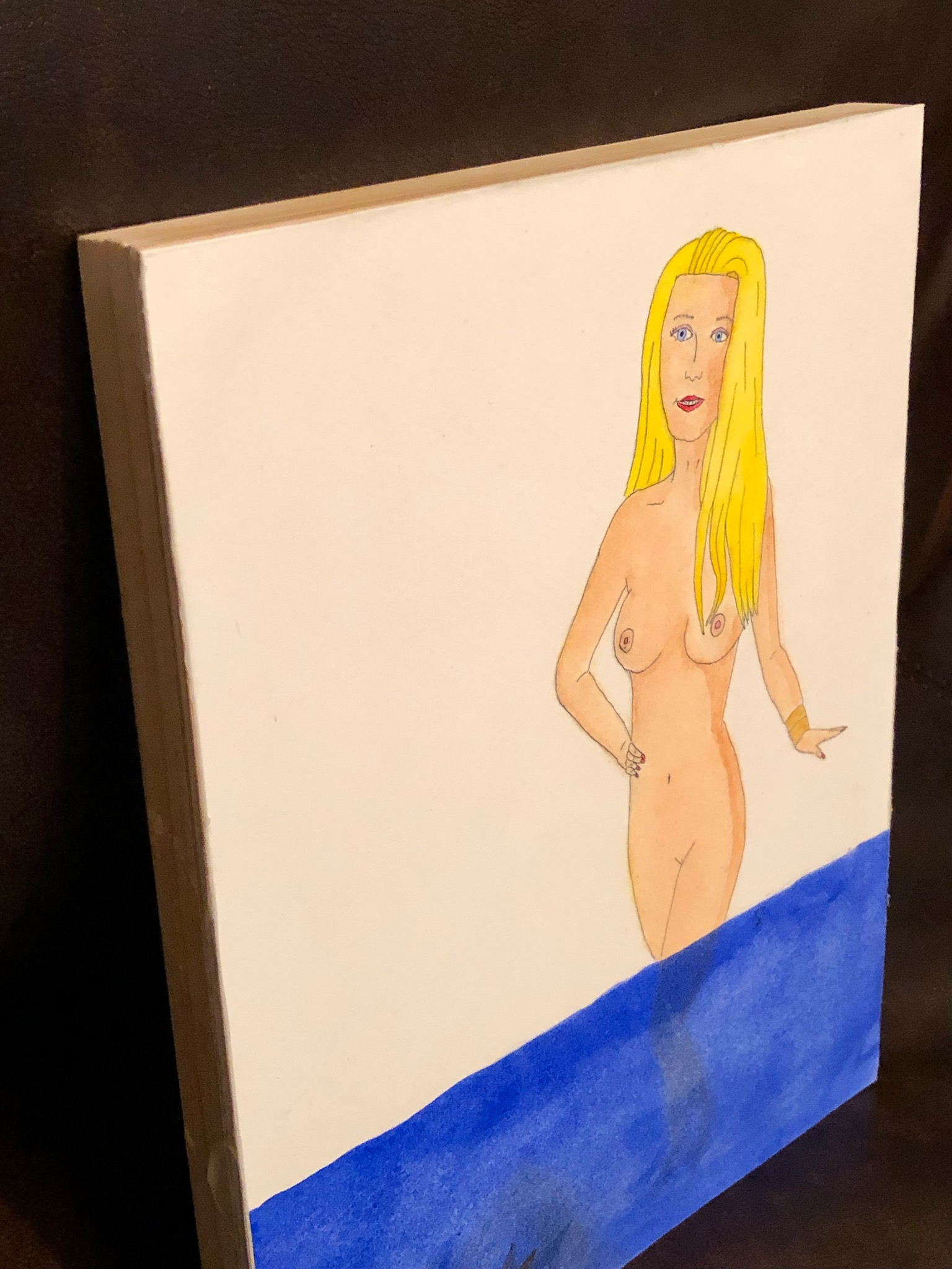 blonde bather painting with wood backing