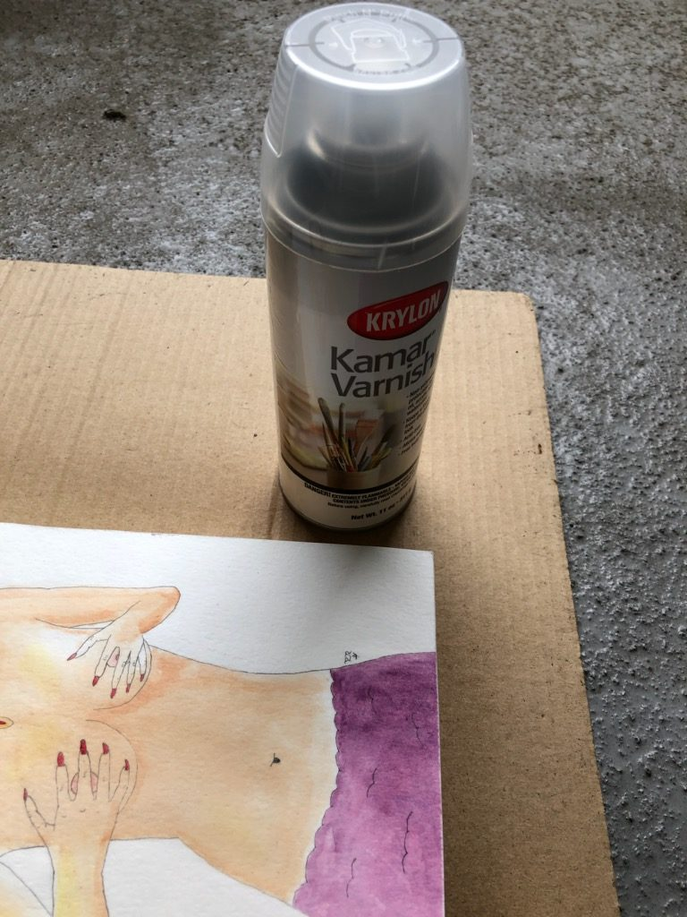 Krylon Kamar Varnish for watercolor paintings