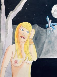 blonde girl with fairie close up