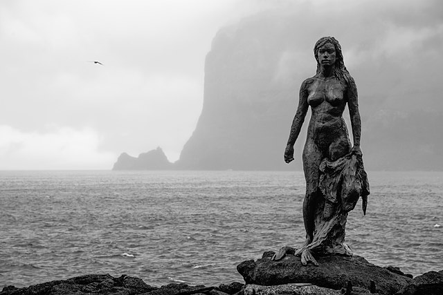 Selkie statue in Kalsoy, one of the  Faroese islands
