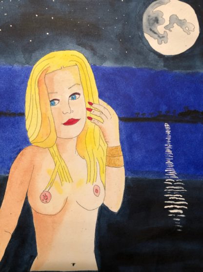 gorgeous blonde bather topless by moonlight