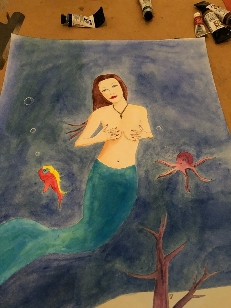 Mermaid Roxy painted under the influence of absinthe