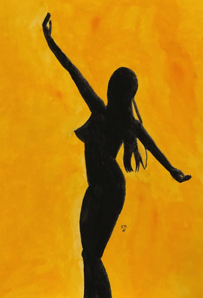 Simple gouache silhouette painting