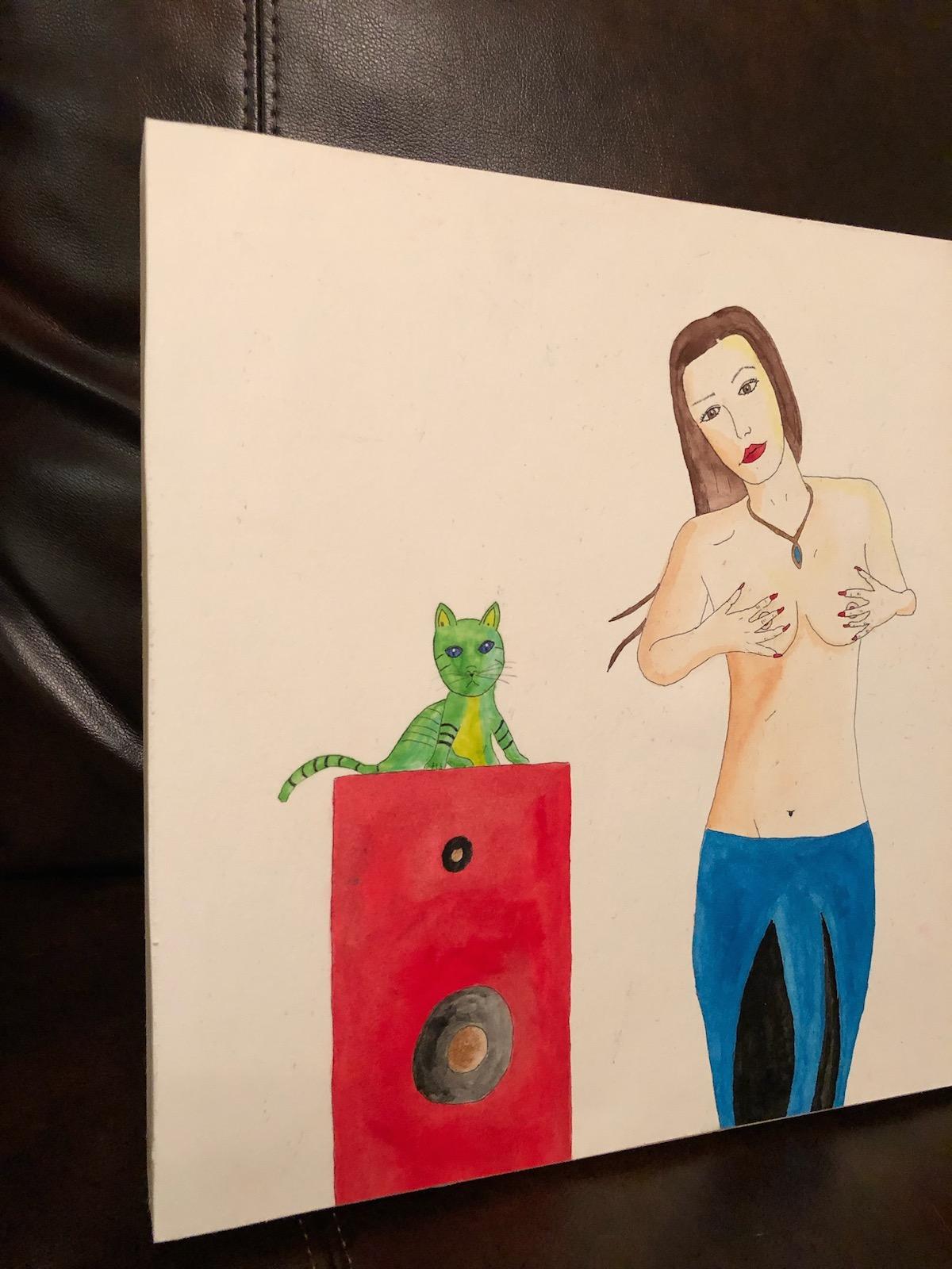 Speaker Girl and Green Kitten left angle