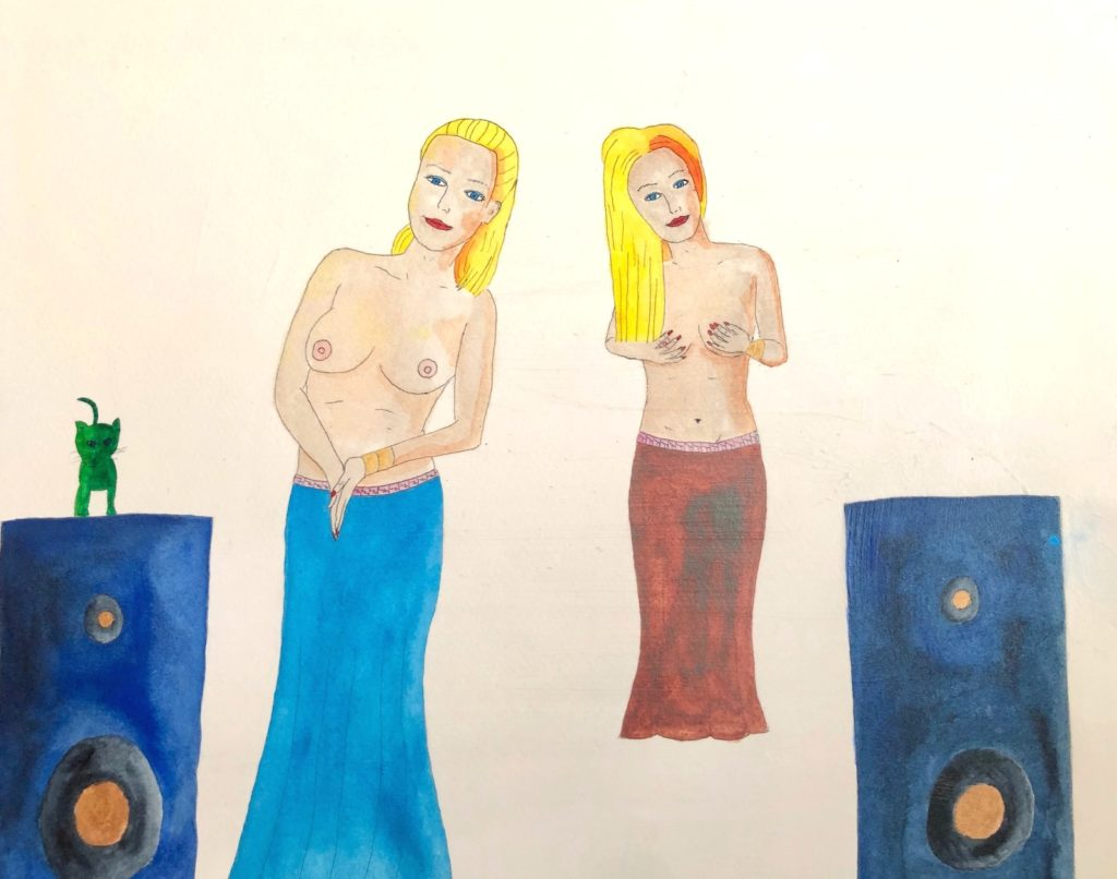 Speaker Girls pinup art