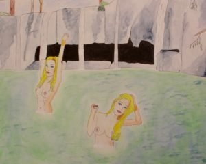 Waterfall Girls 8x10 matted print